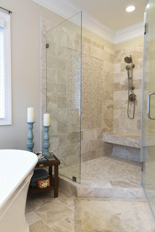 new shower door & tiles