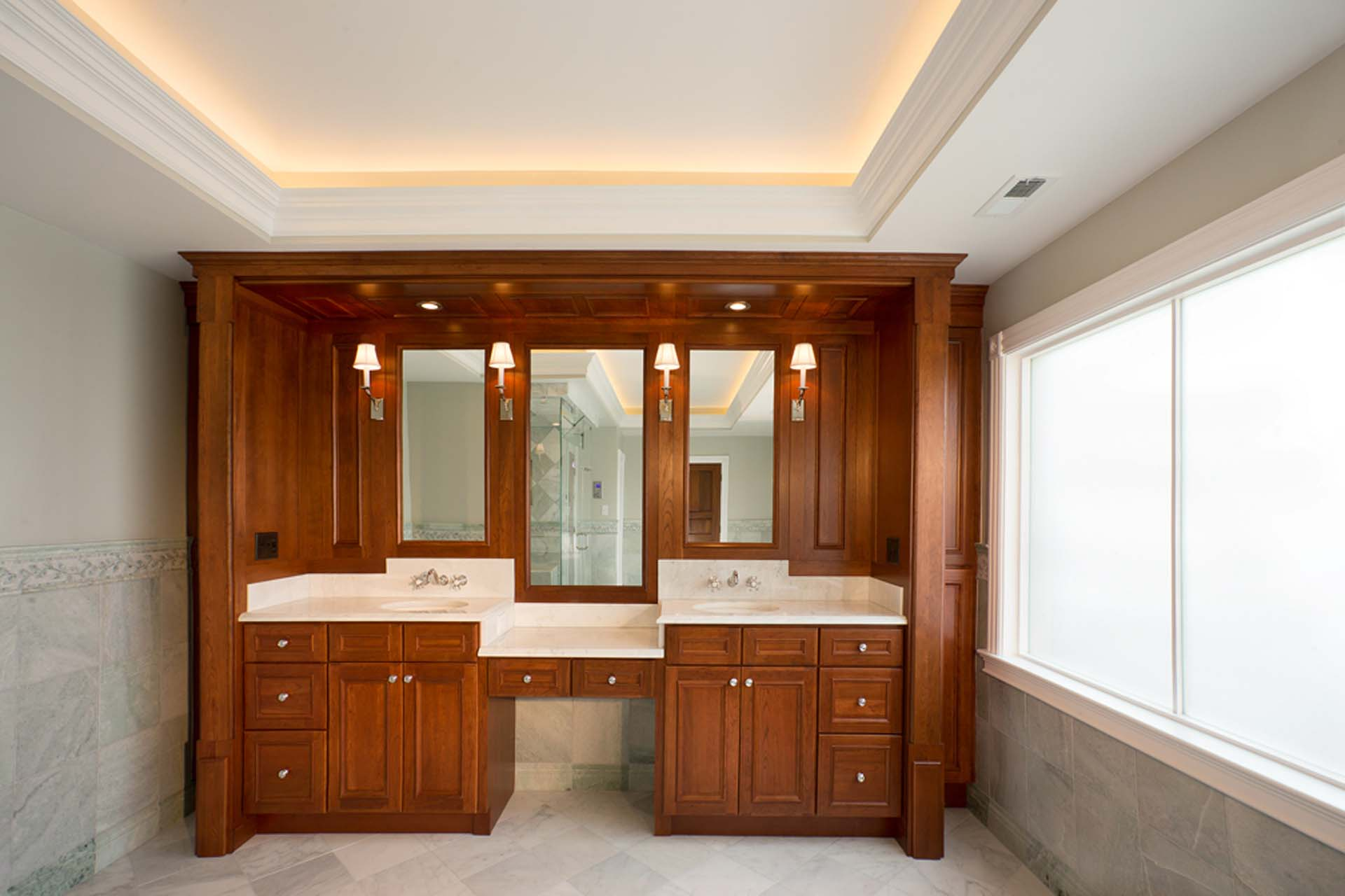 double sink with cabinets