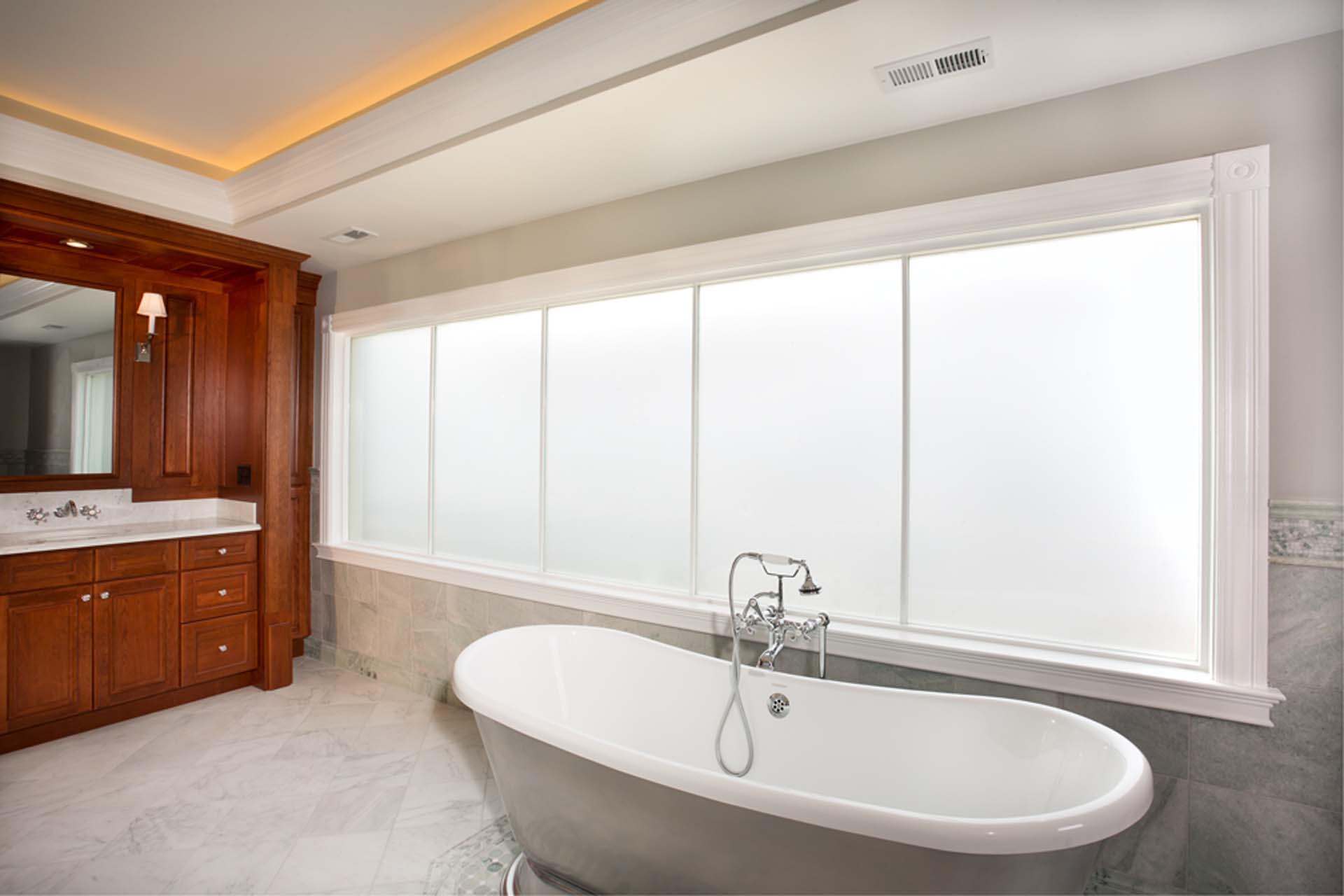 hazed windows in bathroom
